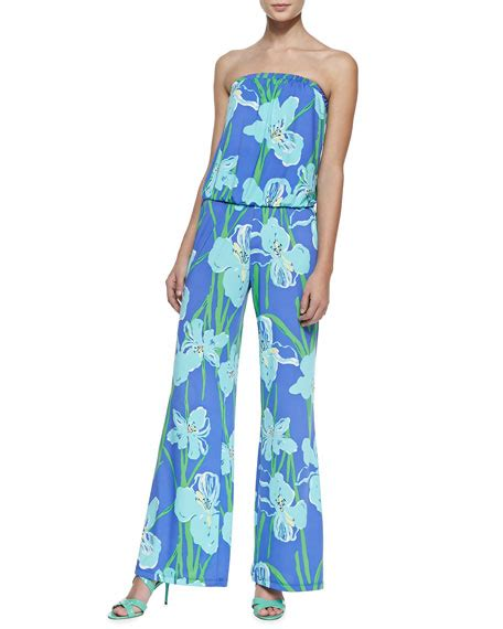Floral Print Strapless Jumpsuit lilly pulitzer kourtney floral print strapless jumpsuit