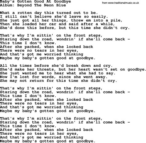 download mp3 too good at goodbyes lyrics baby s gotten good at goodbye by george strait lyrics