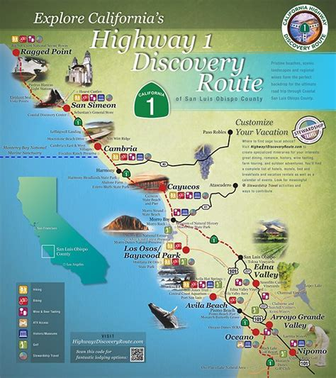 map us highway 1 regional map central coast road trip vacations