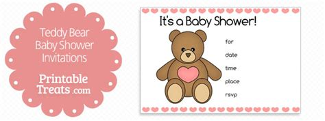 Printable Teddy Bear Baby Shower Invitations Printable Treats Com Teddy Baby Shower Invitations Templates Free