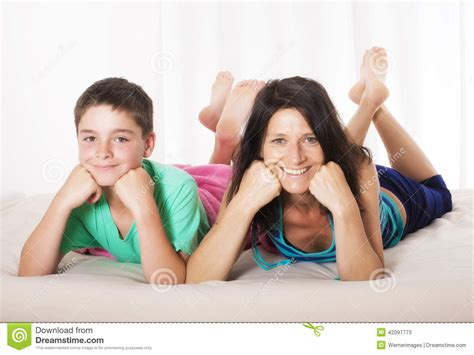 mom son bed mother and son in bed stock photo image 42097773