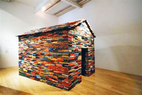 the house books house sculpture made from hundreds of recycled