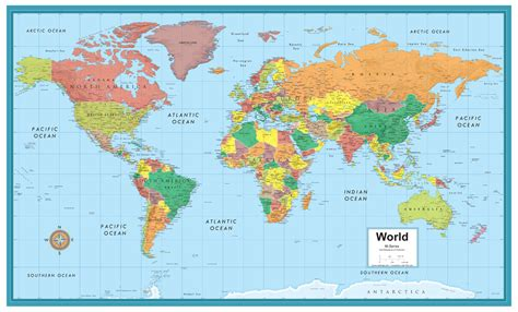 world map image big size series large wall map mural poster 50 quot x 32 quot