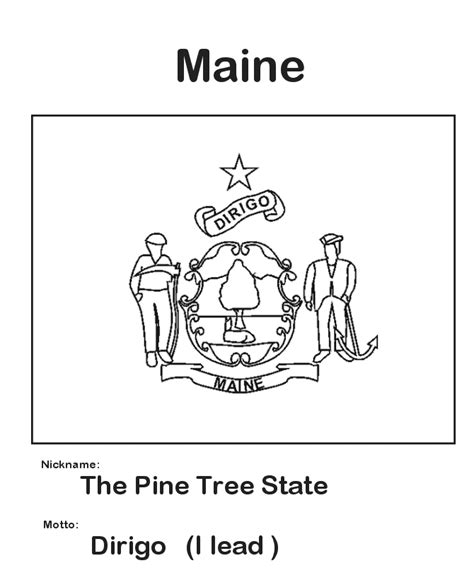Usa Printables Maine State Flag State Of Maine Coloring Maine State Flag Coloring Page