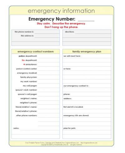 Emergency Plan Template by Printable Emergency Plan Template Emergency Preparedness