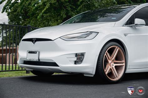 White Tesla White Tesla Model X Sits On Gold Vossen Forged Wheels