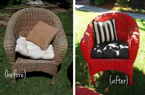 diy refurbished wicker black and white outdoor patio