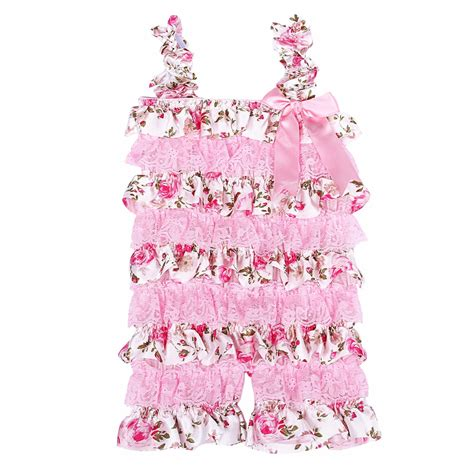 Jumpsuit Fisher Price Floral Pink baby rompers pink floral petti ruffle lace romper 1st birthday cake smash toddler