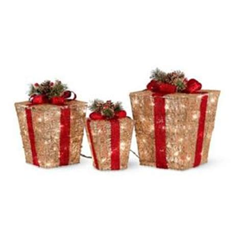 outdoor lighted christmas presents set of 3 pre lit lighted gold christmas gift boxes