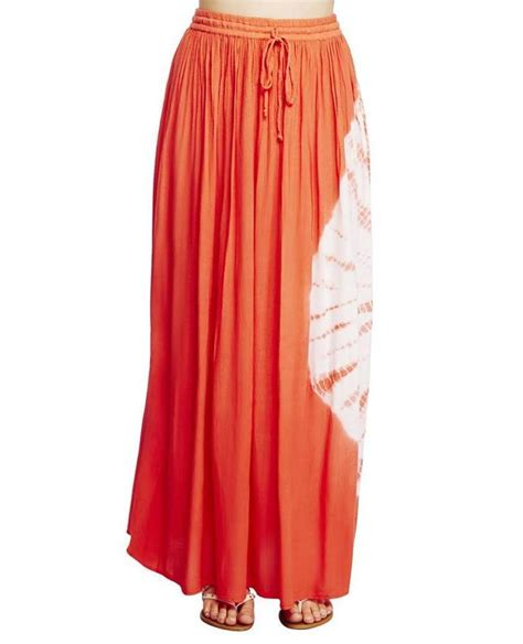 coral tie dye circle rayon attached slip crinkled