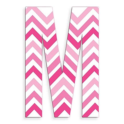 M Chevron stupell industries tri pink chevron 18 inch hanging letter