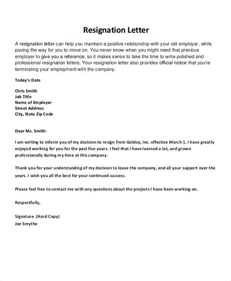 Best Resignation Letter Template Resignation Letter 22 Free Word Pdf Documents Download Free Premium Templates