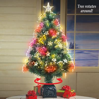 rotating fiber optic tabletop christmas tree from