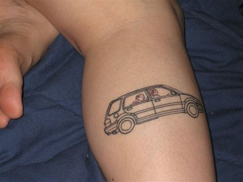 car related tattoo designs car outline design on leg
