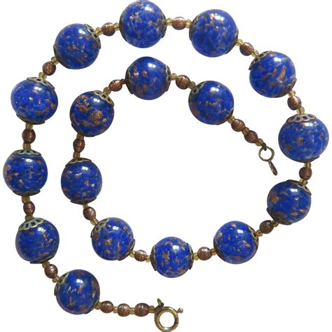 murano glass bead necklace vintage murano royal blue glass bead necklace ca 1950