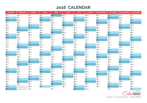 printable yearly planning calendar 2016 yearly calendar year 2016 yearly horizontal planning