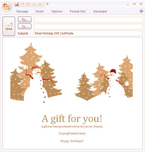 E Mail Message Holiday Gift Certificate Free Certificate Templates In Gift Certificates Category Email Gift Certificate Template