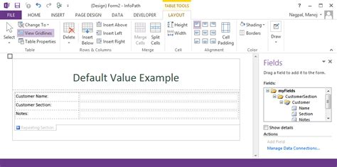 infopath repeating section setting default values for first row in infopath repeating
