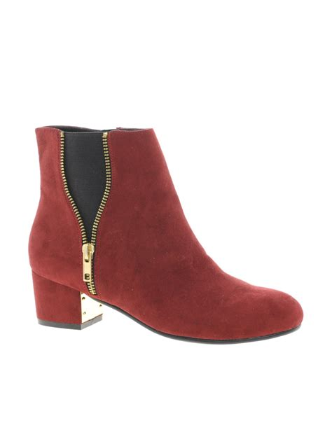 burgundy boots river island zip side ankle boots in black burgundy lyst