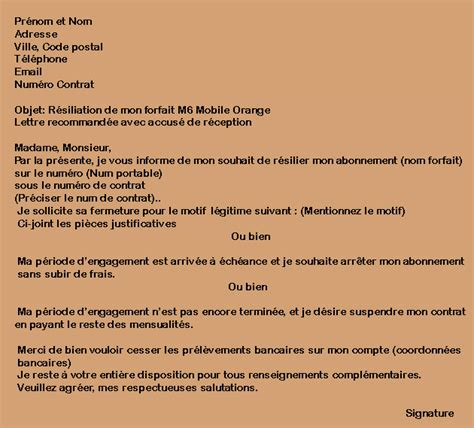 Lettre De Resiliation Orange Et Mobile R 233 Silier Forfait M6 Mobile Orange Condition Adresse Lettre R 233 Siliation
