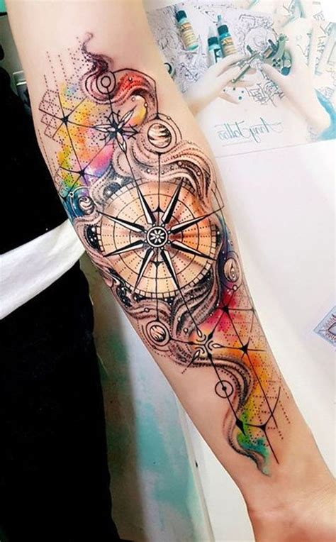 watercolor compass tattoo the 25 best watercolor compass ideas on