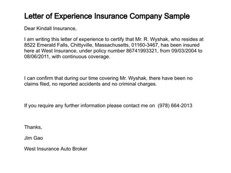 Insurance Undertaking Letter Format Letter Of Experience Insurance Company Sle