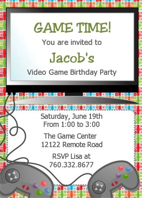 Video Game Party Invitations Cimvitation Gaming Invitation Template