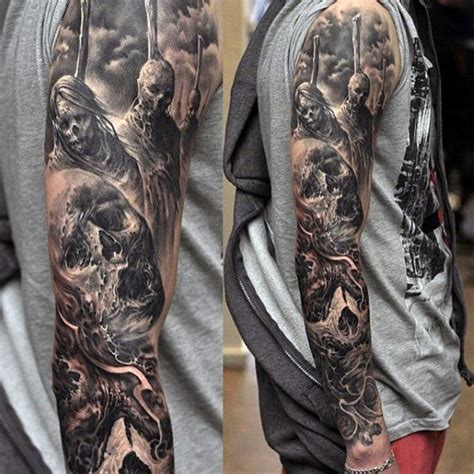 black and grey tattoo design top 100 best sleeve tattoos for cool designs and ideas