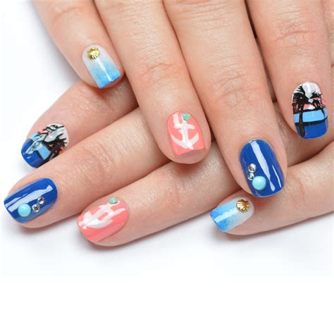 nail art tutorial nautical nail art  cuccio