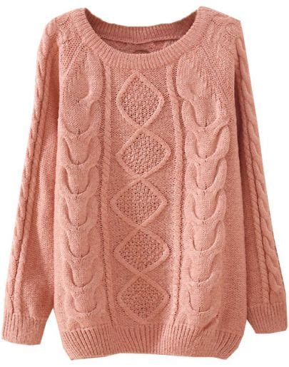 pink knit sweater pink sleeve patterned knit sweater shein