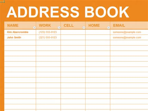 book template excel free excel template personal address book organizing