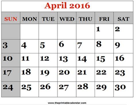 printable calendar 2016 april april 2016 printable calendars