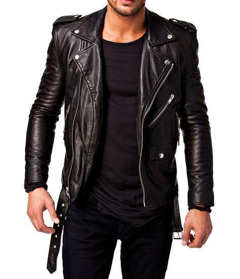 mens leather jacket leather jacket black slim fit biker motorcycle genuine lambskin jacket 305 ebay