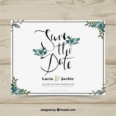 Wedding Card Vector by Wedding Card With Watercolor Leaves Vector Free