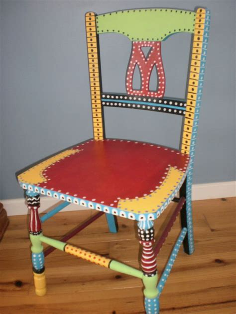 painted armchair hand painted whimsical chair gypsy folk art vintage