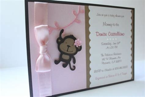 Baby Shower Handmade Invitations - baby shower invitation monkey pink