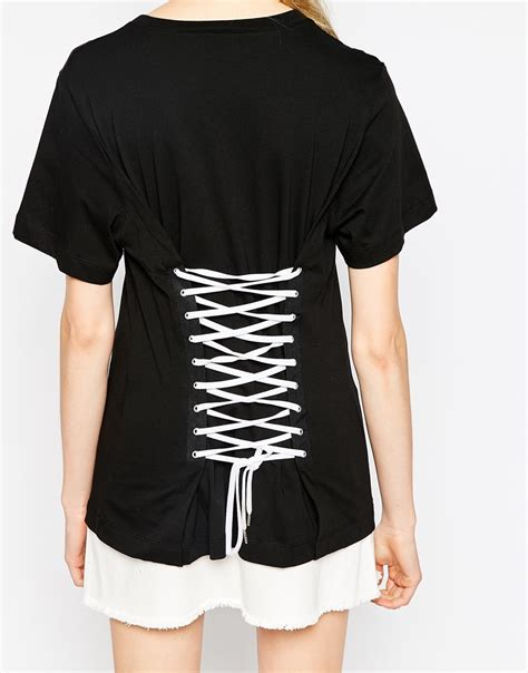 lace up back shirt moschino t shirt with lace up back in black lyst