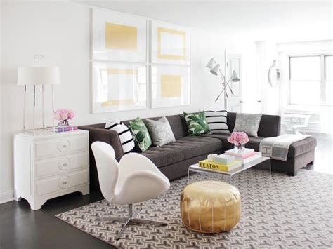 gray tufted sectional contemporary living room
