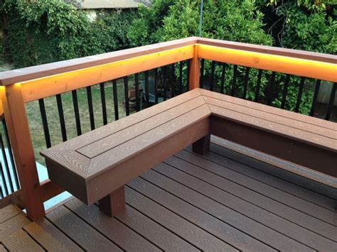 deck railing bench deck with bench composite redwood contemporary