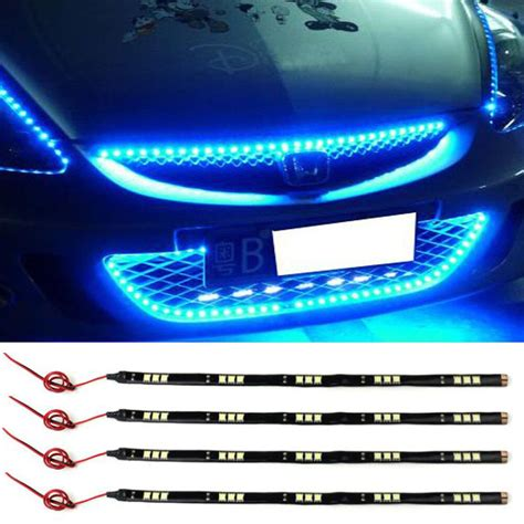 led car light strips 4x 30cm waterproof 15 blue led car vehicle motor grill light strips 12v ebay