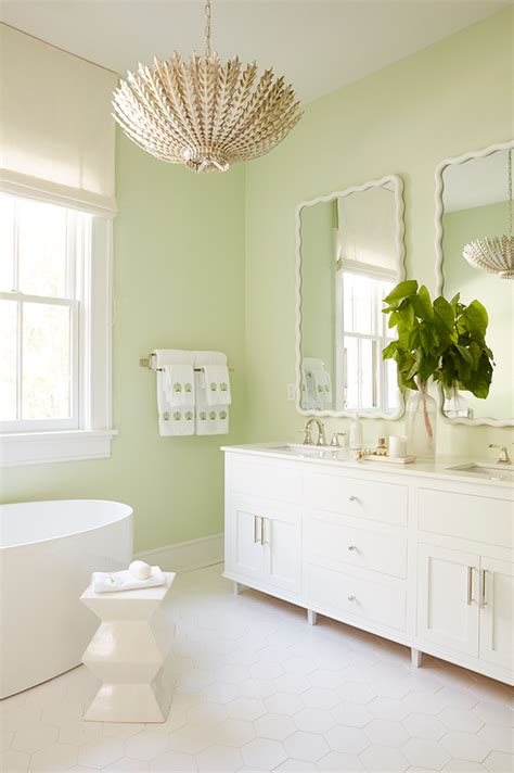 Green And White Bathroom by White Scalloped Walls Conce Design Ideas Page 1