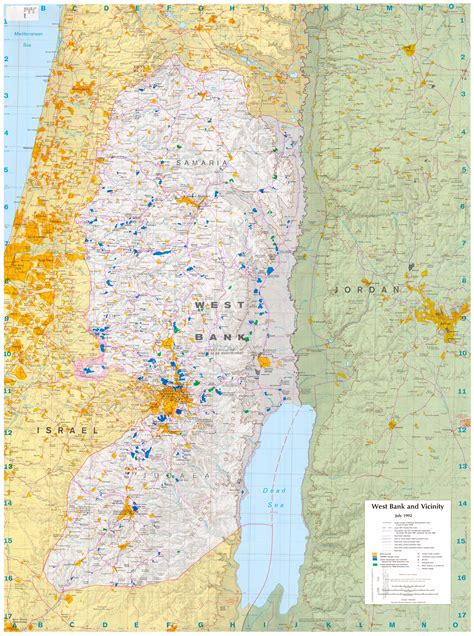 how big is the west bank large detailed road map of west bank west bank large