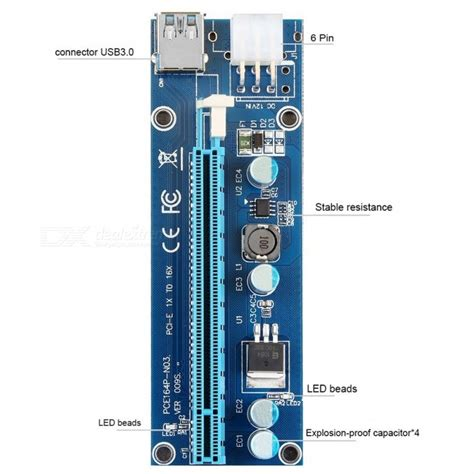 Pcie Riser Ver 009s Pci E Usb 3 0 6 Pin Solid Big 4 Capacitor 1 kitbon 009s usb 3 0 pci e 1x to 16x riser adapter card extender cable free shipping dealextreme
