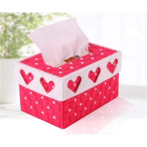 Handmade Tissue Holder - diy handmade 3d cross stitch embroidery tissue box