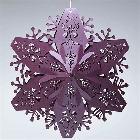 large ruby purple 3d hanging snowflakes