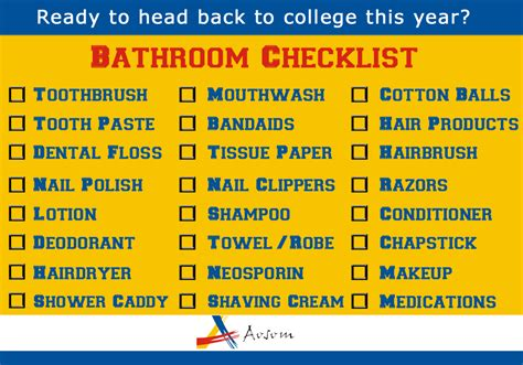 Student Bathroom Essentials College Ready The Ultimate College Checklist Aosom