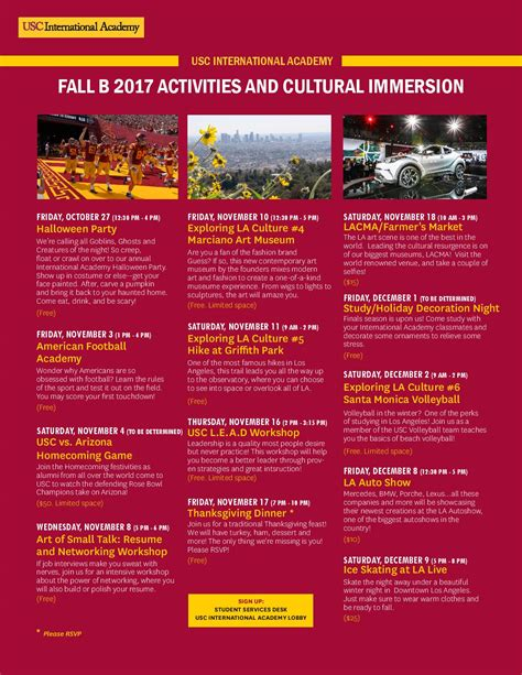 Usc Mba Schedule For Fall by Fall B Activities Schedule International Academy Student