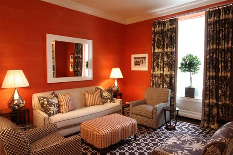 Chocolate Brown And Orange Living Room by Judy Cormier Interiors