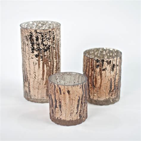 Bronze Glass Candle Holders Set Of 3 Glam Wavy Etched Pattern Mercury Glass Candle