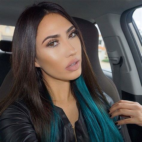 kylie kouture hair brittany showing off her new bellami dark brown teal ombre